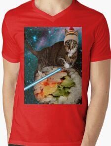 sushi jedi cat Mens V-Neck T-Shirt