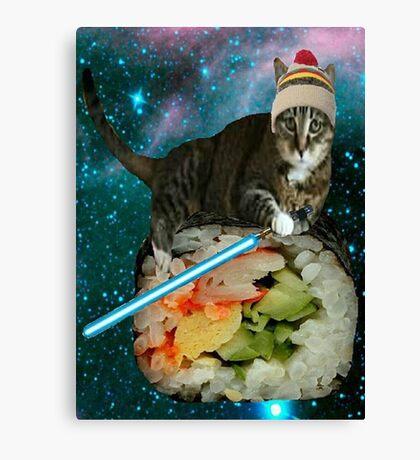sushi jedi cat Canvas Print