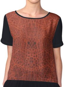 Faux Animal Skin, Leather Reddish Brown Chiffon Top