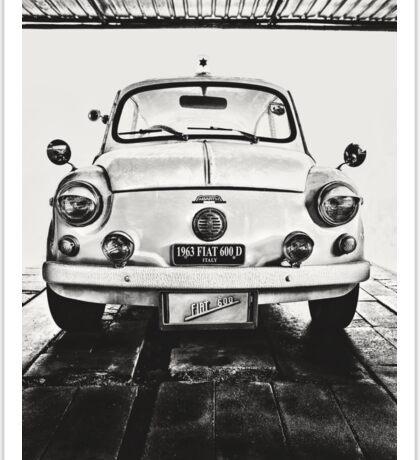 FIAT 600D - 1963 Black and White Sticker