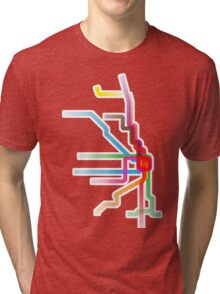 Chicago CTA Rainbow Map Tri-blend T-Shirt