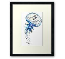 Watercolor and Ink Jellyfish Painting Framed Print