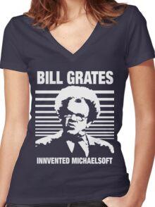 Dr Steve Brule Shirt: BILL GRATES INVENTED MICHAELSOFT Women's Fitted V-Neck T-Shirt