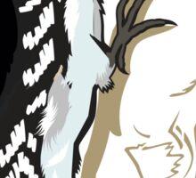 Illustration of Woodpecker on Tree  Sticker