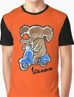 Vespa Riding Elephant Graphic T-Shirt