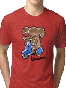 Vespa Riding Elephant Tri-blend T-Shirt