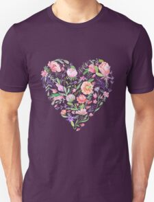 Heart of Summer Watercolor Floral Illustration T-Shirt
