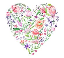 Heart of Summer Watercolor Floral Illustration Photographic Print
