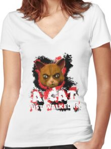 Mad Dogs Cat Shirt Women's Fitted V-Neck T-Shirt