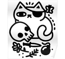 Badass Cat T Shirt Cat Decal Sticker Hoodie Intimidating Fierce Cat with skull knife boom Poster