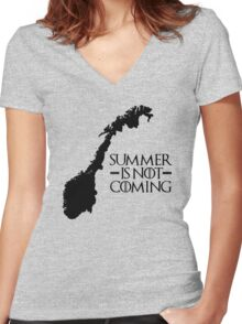 Summer is NOT coming - norway(black text) Women's Fitted V-Neck T-Shirt