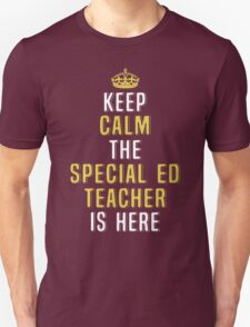 Keep Calm The Special Ed Teacher Is Here. Funny Gift. T-Shirt