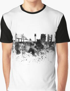 Lisbon skyline in black watercolor Graphic T-Shirt