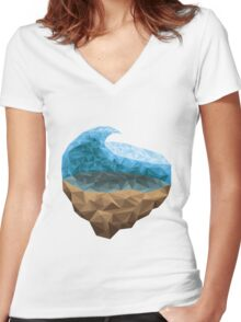 Low Poly Wave Women's Fitted V-Neck T-Shirt