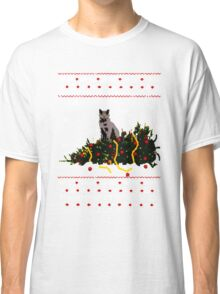 Christmas T Shirt Ugly Cat Sweater Meowy Funny Xmas Mens Gift Tee Holiday Kitten Long Sleeve Butt Lover Party Cute Classic T-Shirt