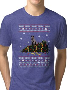 Christmas T Shirt Ugly Cat Sweater Meowy Funny Xmas Mens Gift Tee Holiday Kitten Long Sleeve Butt Lover Party Cute Tri-blend T-Shirt