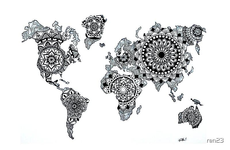 world map mandala laptoptaschen redbubble. Black Bedroom Furniture Sets. Home Design Ideas