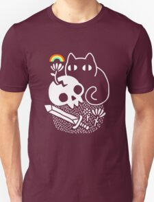 Bully Cat T Shirt Men Short Sleeve Print Shirts Cat with Skull Knife Tee Fashion Casual Top Funny Women New Graphic Summer Popular T-Shirt