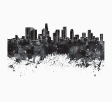 Los Angeles skyline in black watercolor One Piece - Short Sleeve