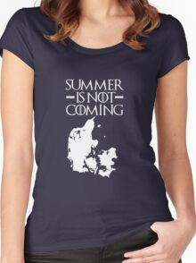 Summer is NOT coming - denmark(white text) Women's Fitted Scoop T-Shirt