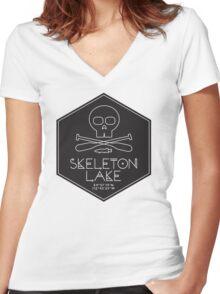 Skeleton Lake (black print) Women's Fitted V-Neck T-Shirt