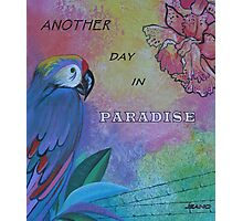"MESSAGE (WITH PARROT): ""Another Day in Paradise"" Photographic Print"