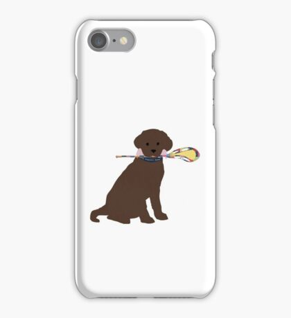 Preppy Chocolate Lab Lacrosse Dog iPhone Case/Skin