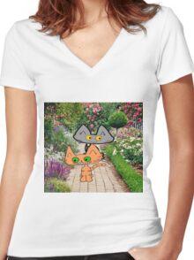 Two Cats Walking Through A Garden Women's Fitted V-Neck T-Shirt