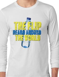 Water Bottle Flip The Flip Heard Around The World Talent Show Vintage Distressed Graphic Long Sleeve T-Shirt