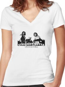 Straight Outta Guilder Women's Fitted V-Neck T-Shirt