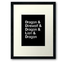 dragon&direwolf&dragon&lion&dragon Framed Print