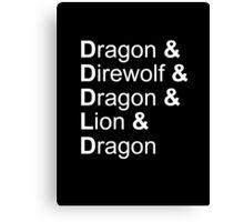 dragon&direwolf&dragon&lion&dragon Canvas Print
