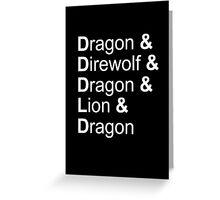 dragon&direwolf&dragon&lion&dragon Greeting Card