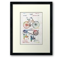 Colorful Bike Art - Vintage Patent - By Sharon Cummings Framed Print