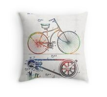 Colorful Bike Art - Vintage Patent - By Sharon Cummings Throw Pillow