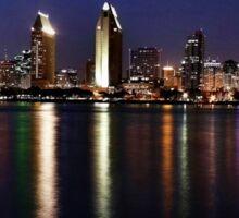 San Diego Skyline at Night Sticker