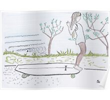 Longboard life colour pencil illustration Poster
