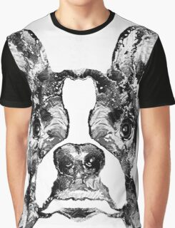 Boston Terrier Dog Black And White Art - Sharon Cummings Graphic T-Shirt