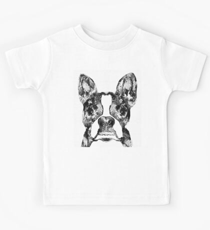 Boston Terrier Dog Black And White Art - Sharon Cummings Kids Tee
