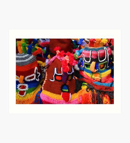 Colorful Knit Masks Art Print