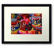 Colorful Knit Masks Framed Print