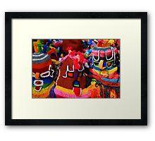 Colorful Knit Masks Framed Print