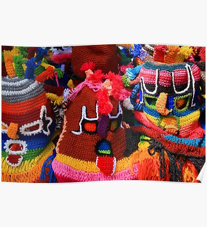 Colorful Knit Masks Poster