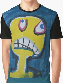 Troy - Graphic Yellow Face With Blue Background Graphic T-Shirt