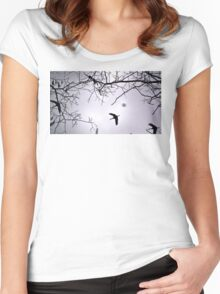 Flying Backlit Sandhill Crane (Grus canadensis) Women's Fitted Scoop T-Shirt