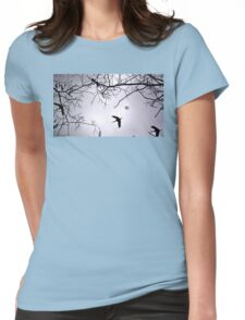 Flying Backlit Sandhill Crane (Grus canadensis) Womens Fitted T-Shirt