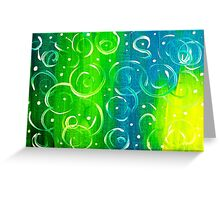 Field Stream Green River Blue Yellow White Swirls Colorful Greeting Card