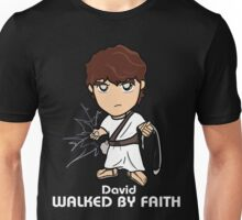 Walked by Faith (David) *WHITE TEXT* Unisex T-Shirt