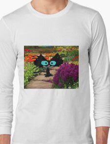 Black Cat At A Garden Long Sleeve T-Shirt