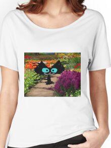 Black Cat At A Garden Women's Relaxed Fit T-Shirt